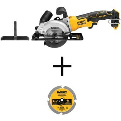 ATOMIC 20V MAX Cordless Brushless 4-1/2 in. Circular Saw (Tool-Only) with 4-1/2 in. 4-Tooth Fiber Cement Saw Blade