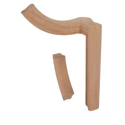 7060 Unfinished Wood Red Oak Left-Hand 2 Rise Gooseneck 90 Degree Fitting