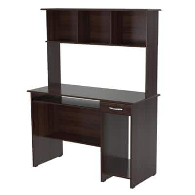 47.24 in. Espresso Wengue Rectangular 1 -Drawer Computer Desk with Keyboard Tray