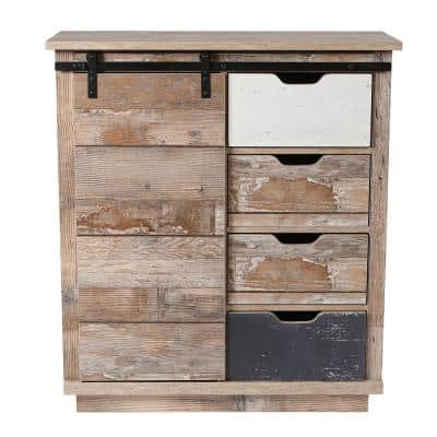 Sliding 1-Door Rustic Wood Accent Cabinet