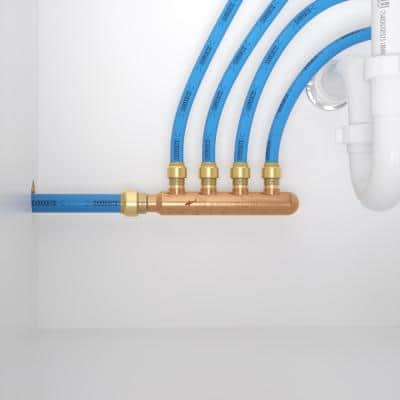 3/4 in. x 1/2 in. Push-to-Connect Copper 4-Port Closed Manifold Fitting