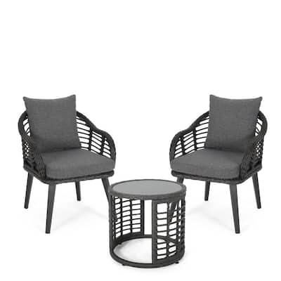 Tatiana Grey 3-Piece Faux Wicker Patio Conversation Set with Dark Grey Cushions