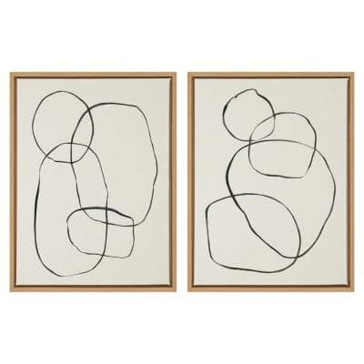 """Sylvie """"Modern Circles"""" by Teju Reval of Snazzyhues Framed Canvas Wall Art Set 24 in. x 18 in."""