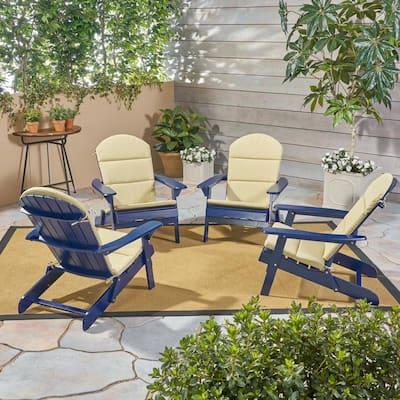 Malibu Navy Blue Wood Adirondack Chair with Khaki Cushion (4-Pack)