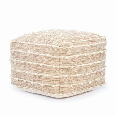 Penelope Brown and Ivory Pouf 22 in. x 22 in. x 16 in.
