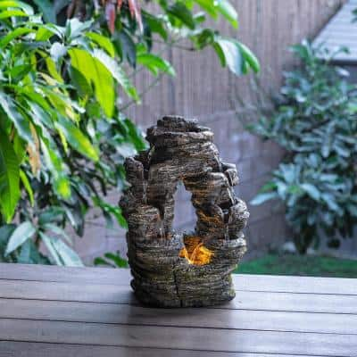 14 in. Tall Indoor Stone Look Oval Shaped Waterfall Tabletop Fountain