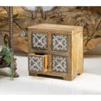 Brown Wood with Metal Inlay 4-Drawer Box