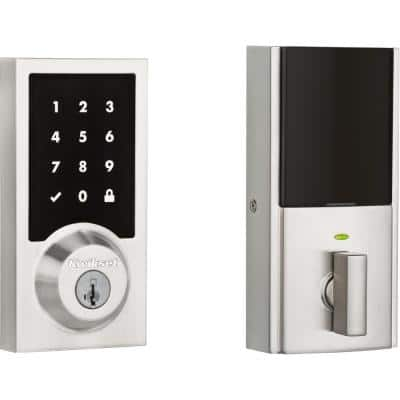 Premis Contemporary Touchscreen Smart Lock Satin Nickel Single Cylinder Electronic Deadbolt Featuring SmartKey Security