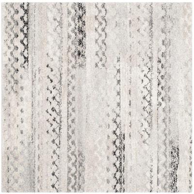 Retro Cream/Gray 4 ft. x 4 ft. Square Area Rug