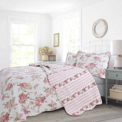 Romantic Cottage 3-Piece Peachy Pink Peony Shabby Chic Chintz Floral Stripe Cotton King Quilt Bedding Set