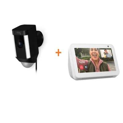 Wired Outdoor Rectangle Spotlight Security Camera in Black with Echo Show 5 in Sandstone