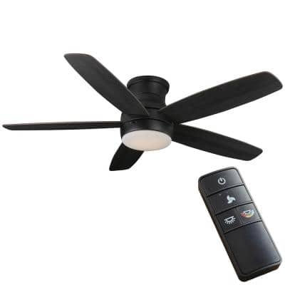 Ashby Park 52 in. White Color Changing Integrated LED Matte Black Indoor Ceiling Fan with Light Kit and Remote Control