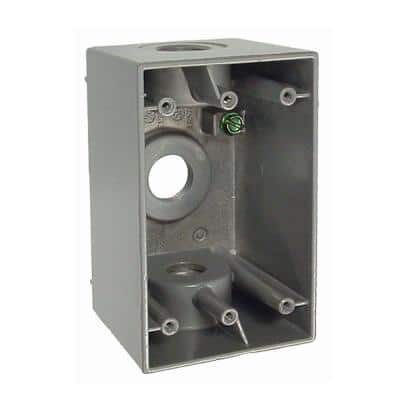 1-Gang Gray Weatherproof Box with Three 1/2 in. Outlets