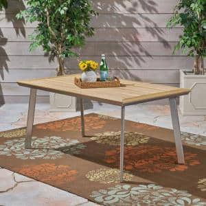 Leeds Silver Rectangular Aluminum and Natural Faux Wood Outdoor Dining Table