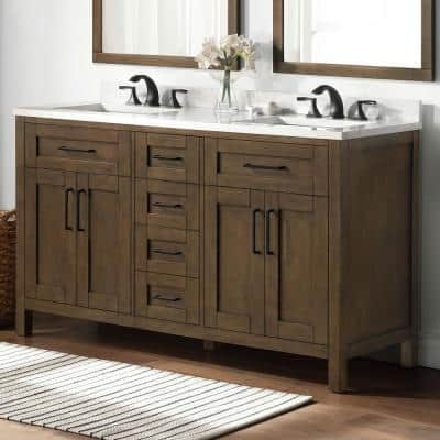 Tahoe 60 in. W Bath Vanity in Almond Latte with Engineered Stone Vanity Top in White and White Basins