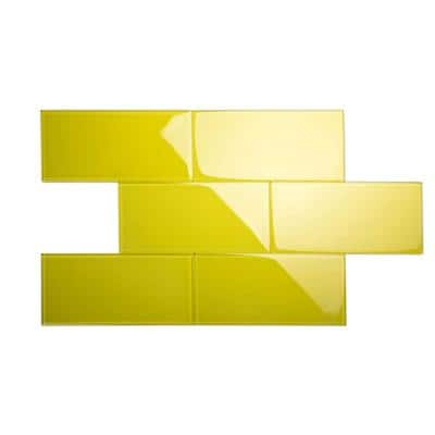 Pineapple Yellow 6 in. x 12 in. x 8mm Glass Subway Tile (5 sq. ft./Case)