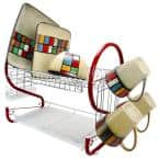 22 in. 2-Tier Red Chrome Plated Standing Dish Rack