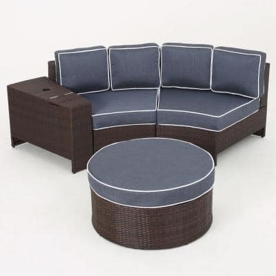 Brown 4-Piece Wicker Patio Sectional Seating Set with Navy Blue Cushions