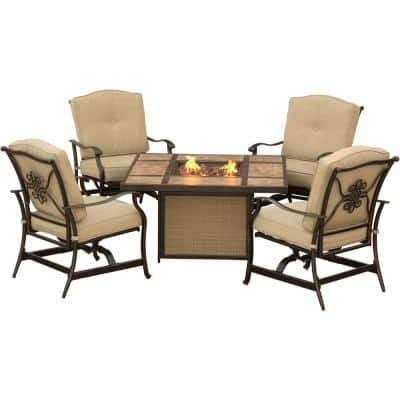 Concord 5-Piece Aluminum Outdoor Conversation Set with Tan Cushions and Tile-Top Fire Pit