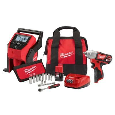 M12 12-Volt Lithium-Ion Cordless 3/8 in. Impact Wrench and Inflator Combo Kit with 3/8 in. Drive Metric Socket Set