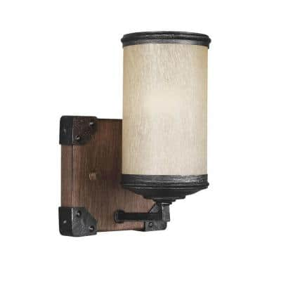 Dunning 5 in. W. 1-Light Weathered Gray and Distressed Oak Wall Sconce