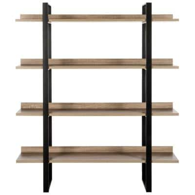 55 in. Light Brown/Black Metal 4-shelf Etagere Bookcase with Open Back