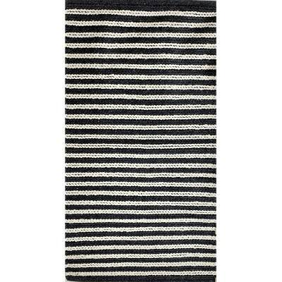 Accord Classic Gray / White 2 ft. 6 in. x 4 ft. Striped Cotton Area Rug