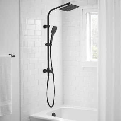 Modern Wall Bar Shower Kit 1-Spray 8 in. Square Rain Shower Head with Hand Shower in Matte Black (Valve Not Included)