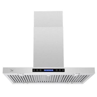 36 in. 480 CFM Ducted Island Range Hood in Stainless Steel with Baffle Filters, LED Lights, Touch Screen Control