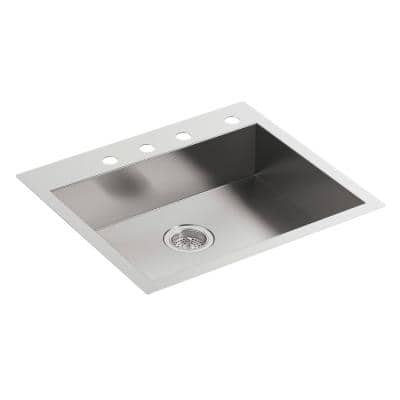 Vault Dual-Mount Stainless Steel 25 in. 4-Hole Single Bowl Kitchen Sink