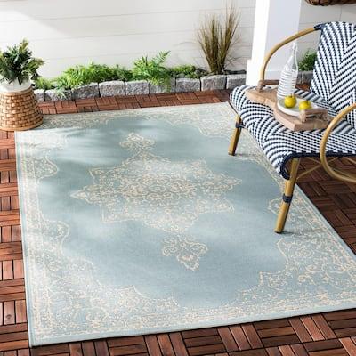 Beach House Cream/Aqua 9 ft. x 12 ft. Oriental Indoor/Outdoor Area Rug