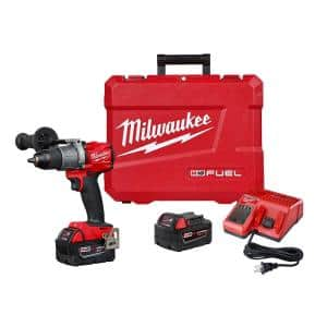 M18 Fuel 18-Volt Lithium-Ion Brushless Cordless 1/2 in. Hammer Drill Driver Kit with Two 5.0 Ah Batteries and Hard Case