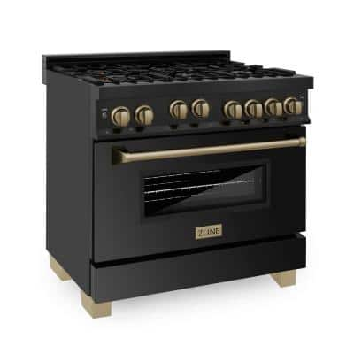 Autograph Edition 36 in. 4.6 cu.ft. Gas Range in Black Stainless Steel with Champagne Bronze Accents