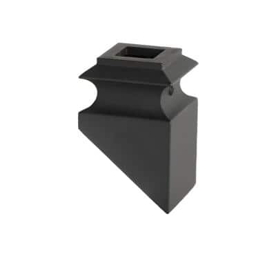 Satin Black 34.3.2 Angled Base Shoes for 3/4 in. Square Mega 1.9 in. x 2.9 in. Iron Balusters for Stair Remodel