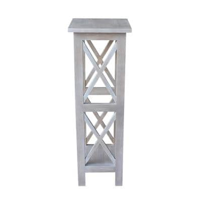 Weathered Taupe Gray Solid Wood 36 in. X-Sided Plant Stand