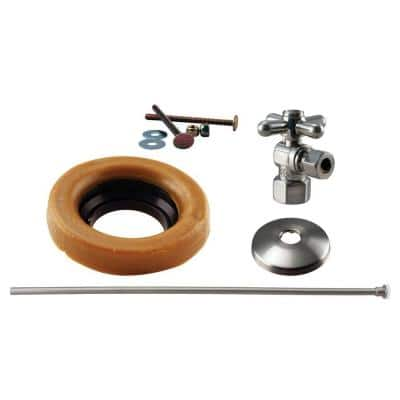 1/2 in. IPS Cross Handle Angle Stop Toilet Installation Kit with Brass Supply Line in Satin Nickel