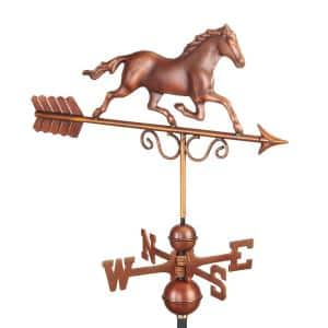 Pure Copper Hand Finished Bronze Patina Galloping Horse Weathervane