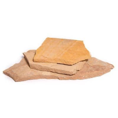 16 in. x 12 in. x 2 in. 120 sq. ft. Arizona Buckskin Natural Flagstone for Landscape, Gardens and Pathways