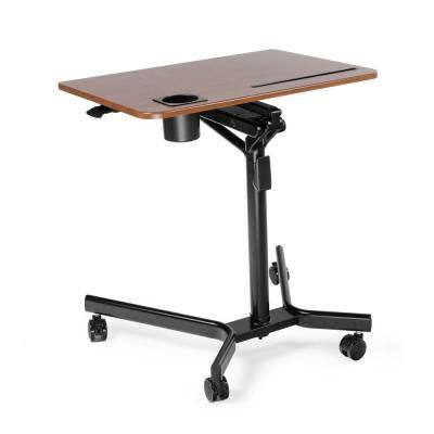 Modern Style Adjustable Height Laptop Desk with Black Frame and Walnut Color Table Topfor Home Office Workstation