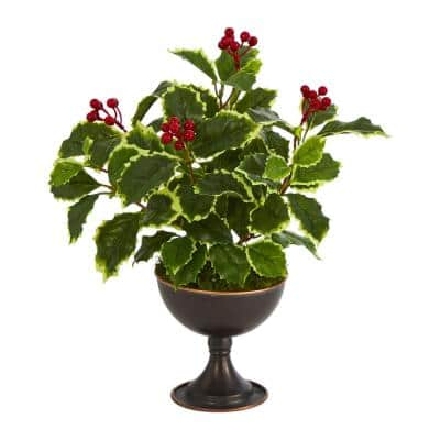 15 in. Unlit Real Touch Variegated Holly Artificial Plant in Metal Chalice