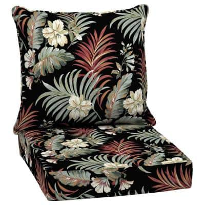 24 in. x 22.5 in. 2-Piece Deep Seating Outdoor Lounge Chair Cushion in Black Simone Tropical
