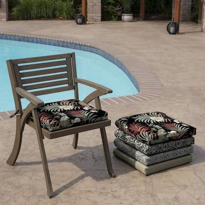 Black Simone Tropical Rectangle Outdoor Seat Pad