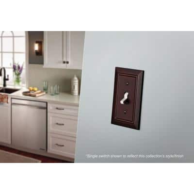 Brown 4-Gang 4-Toggle Wall Plate (1-Pack)