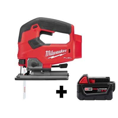 M18 FUEL 18-Volt Lithium-Ion Brushless Cordless Jig Saw with M18 5.0 Ah Battery