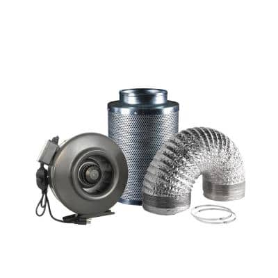 188 CFM 4 in. Centrifugal Inline Duct Fan with Carbon Filter and Aluminum Ducting for Indoor Garden Ventilation