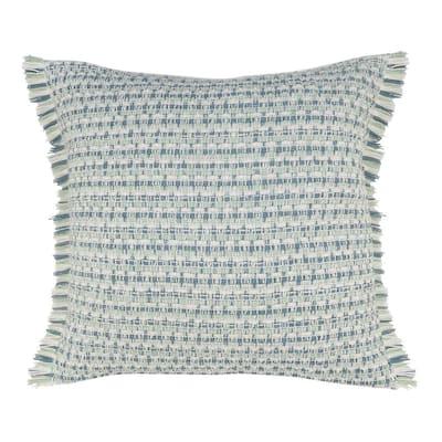 Coastal Blue/Green Interwoven Stripe Square Outdoor Throw Pillow with Fringe