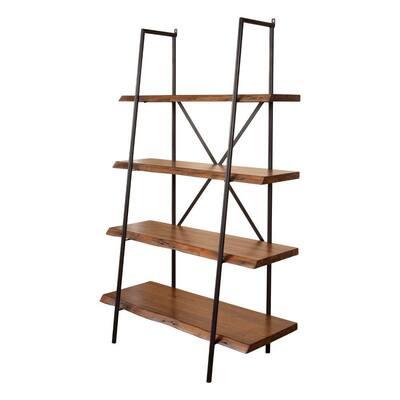 78.5 in. Brown/Black Wood 4-shelf Ladder Bookcase with Open Storage