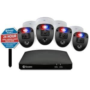 4 Channel 1080p 1 TB DVR Security Camera System with 4 Wired Enforcer Bullet Cameras and Yard Stake