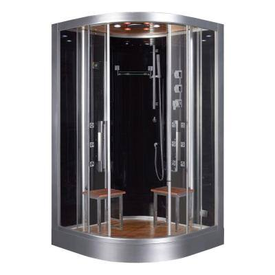 47.2 in. x 47.2 in. x 89 in. Steam Shower Enclosure Kit in Black