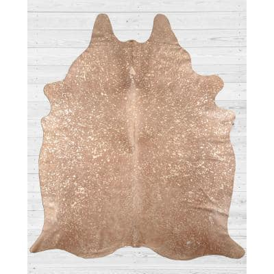 Extra Large 5 x 7 Ft. Brazilian Genuine Natural Leather High Quality Real Hair on Cowhide Rug, Gold Metallic on Beige